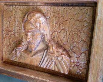 Original Carved Wooden Plaque of Sorrowful Jesus