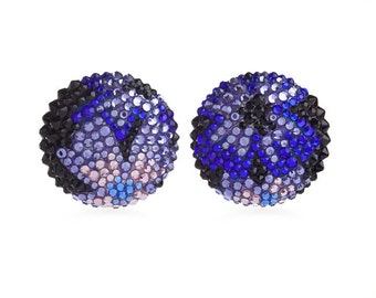 Midnight Bloom Elegant Button Earrings Encrusted With Swarovski Crystals