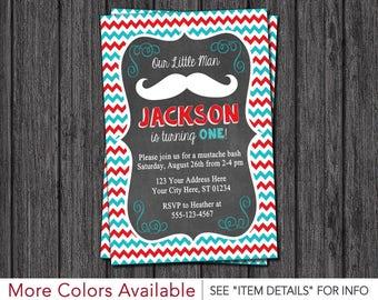 Mustache Birthday Invitation - Little Man Mustache Birthday Invitation