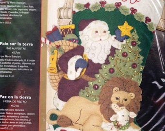 Bucilla Peace on Earth Santa Lion Lamb Dove Christmas Felt Stocking Kit 85270
