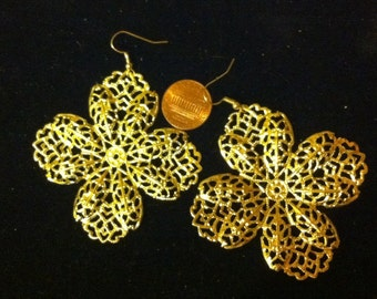 Large Gold Filigree Flower Earrings, Intricate Jewelry, Gold Filigree, Bold Design, Statement Piece Jewelry, Ready to Ship