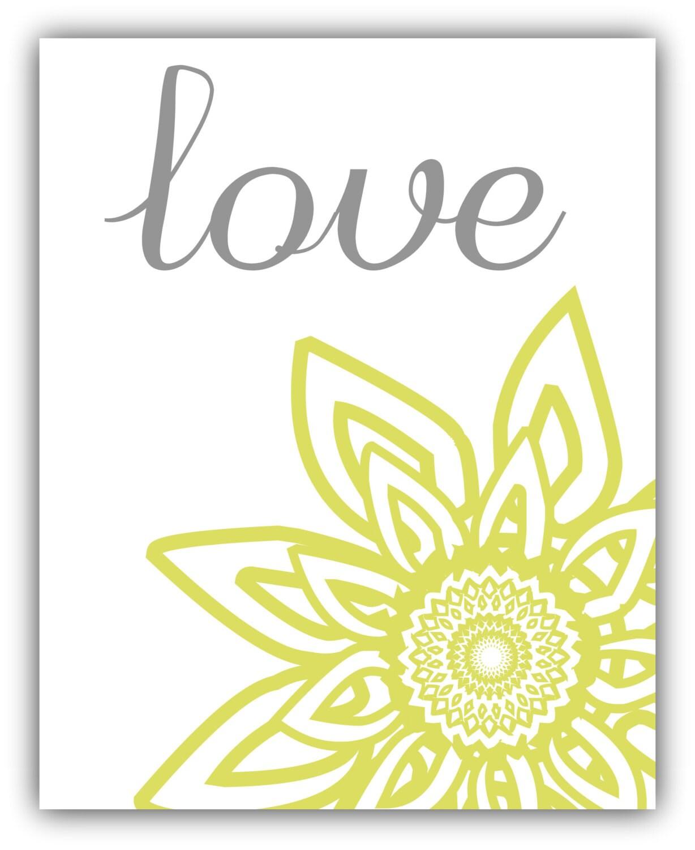 LIVE laugh love 8x10 or 11x14 print set Yellow Gray Modern Floral ...