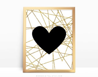 SALE -  Black Heart, Gold Lines, Faux Gold Foil, Faux Gold Glitter, Modern Art Decoration, Baby Girl Nursery, Office Space, Dorm Art