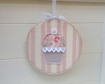 Cupcake Applique Embroidery Hoop wallhanging, Birthday gift, Cupcake Picture, Kitchen Decor Wall Art with Susie Watson & Tilda Fabric