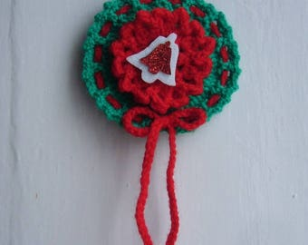 A hanging or hang on your Christmas tree Christmas decoration handmade crochet - vintage red and green wool - small