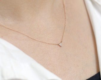 Dainty Diamond Necklace/14k Dimaond Necklace for Women/Petite Pendant Necklace/14k Rose gold Necklace/Everyday Necklace