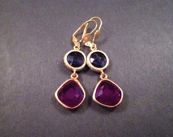 Rhinestone Earrings, Purple and Violet, Gold Dangle Earrings, FREE Shipping U.S.