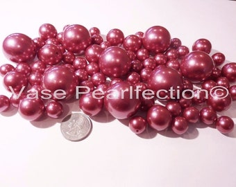 All Raspberry/Red-Sangria Pearls - Jumbo/Assorted Sizes Vase Fillers for Centerpieces