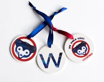 Chicago Cubs World Series Ornament Set