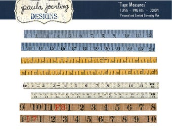 Printable Vintage Tape Measures, Digital Download, Ephemera, Scrapbook Paper, Digital Collage Sheet, Paper Craft,