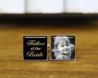 father of the bride cufflinks, custom wedding cufflinks, custom date or photo cufflinks, tie clip, personalized cuff links, groom cufflinks