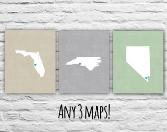 Mothers Day Gift for Mom from Daughter Gift Ideas, Three Prints, 8x10 States Maps, Gift for Family Personalized Map Military Mom Son Gift