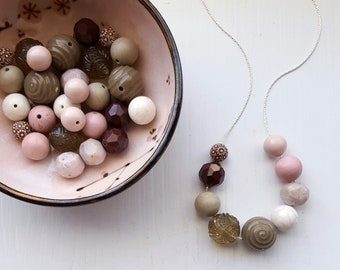 mochi necklace - vintage lucite - remixed vintage bead necklace - pale pink, khaki, chocolate brown - pastels - spring easter jewelry