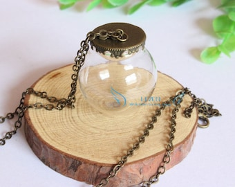 3sets/lot DIY Glass globe necklace kit,30mm (opening 20mm)  silver plated and antique bronze  base&8mm cap