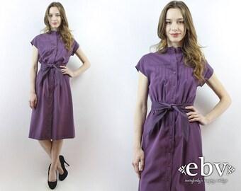 Purple Dress Plum Dress Midi Dress 80s Dress 1980s Dress Day Dress Secretary Dress Summer Dress Work Dress Belted Dress S M