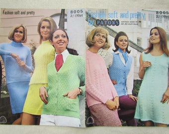 Vintage Patons Patterns for Nine Garments in Soft Speciality Yarns - Patons Knitting Booklet 8005