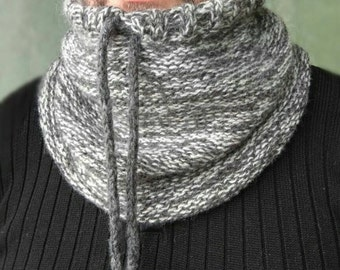 Neckwarmer For Men, Wool Chunky Snood Scarf, Hand Knitted Outdoors-gift, Wool Hooded Scarf, Grey Cowl Neck, Fathers Day Gift From Daughter
