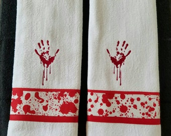 Bloody Hand and Blood Splatter Bathroom Hand Towels