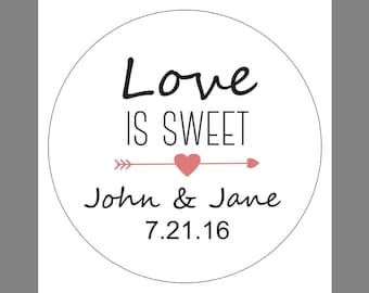 24 12 Personalized Custom Love is Sweet Wedding Names Heart tickers gold silver adhesive