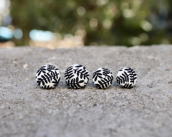 Fabric Button Earrings // Black and White Palm // Vintage Studs // Retro Earrings // Covered Buttons // Studs // Tropical Earrings // Leaves