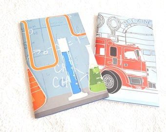 Set of 2 science lab firetruck sketchbooks, patterned journal, travel diary, floral notepads, notebooks