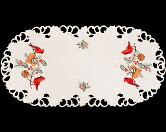 """Beautiful Red Cardinal and Pine Cones Mantle Scarf, Window Treatment 19"""" X 90"""""""