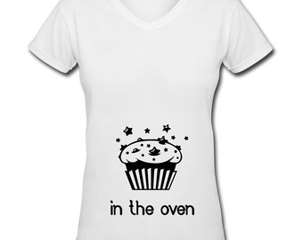 Bun In The Oven Printed Womans T Shirt Casual Wear Clothing Gift Idea New Baby Mum To Be maternity
