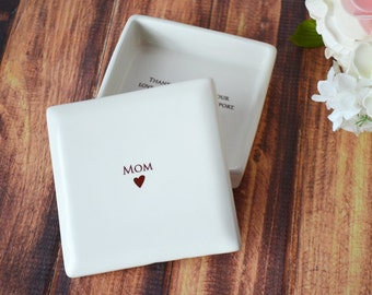 Mother of the Bride Gift or Mother of the Groom Gift - MOM Square Keepsake Box - With Gift Box