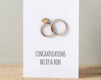 Intertwined Wedding Ring Card - Wedding card - Engagement Card - Personalised Card