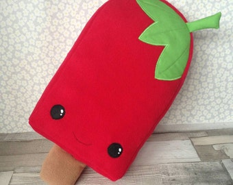 Strawberry Lolly Plushie, fruit pillow, ice cream