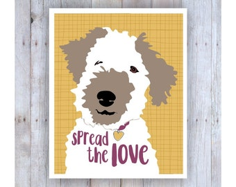 Spread the Love, Dog Rescue Poster, Girls Bedroom Decor, Sign, Prints, Girly, Fun Artwork, Pet Lover Gift, Wire Hair Fox Terrier