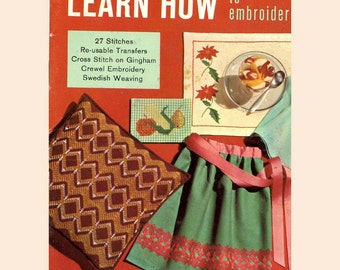 50s Vintage Learn How to Embroider Coats and Clark No 144 pattern book