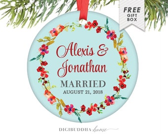 Married Christmas Newlywed Christmas Ornament Married Ornament Custom Our First Christmas Married Decor Wedding Gift Ideas for Bride & Groom
