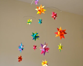 Baby Crib Mobile Origami Paper Stars -'Pyxis' Rainbow