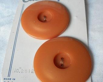 Set of 2 VINTAGE Large Orange Plastic Sew Thru BUTTONS