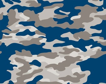 One Yard Military Max - Military Camo in Blue - Cotton Quilt Fabric - by Bella Blvd. for Riley Blake Designs - C4371-BLUE (W3256)