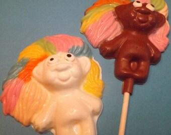 Troll Dolls Chocolate Candy Lollipops