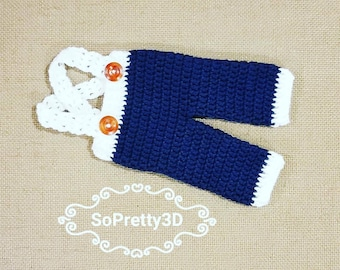 Newborn Crocheted Navy/White  Blue Overalls! Sizing for premies-0 months old! FREE SHIPPING!