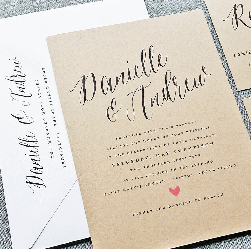Danielle Rustic Wedding Invitation Sample on Recycled Kraft