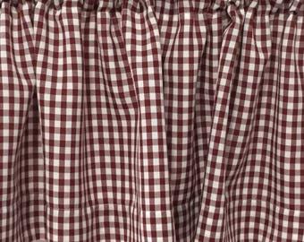 "Burgundy Valance | 12"" Valance | Curtains | Cafe Curtains | Check Decor | Curtains for Kitchen | Valance Curtains | Burgundy Valance | Retro"