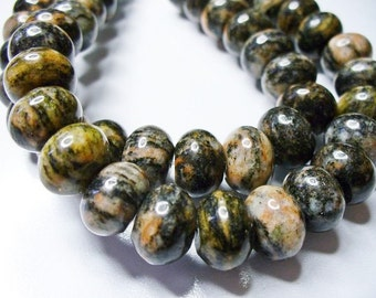Sesame Jasper Beads  Gemstone Black Rondelle 10x5MM