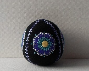 Handmade Felted Wool Black & Purple Floral Easter Egg Pincushion