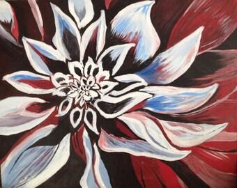 HUGE Acrylic Dahlia Painting- Purple Dahlia