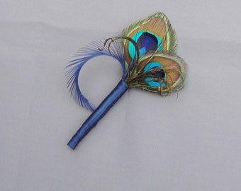 Peacock Feather And Navy Blue Boutonniere It Can Customized With Your Colors