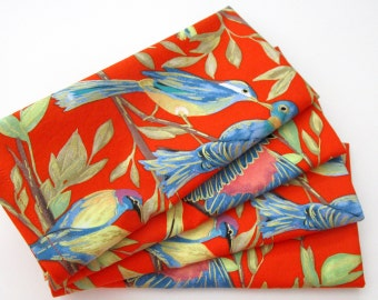 Napkins - Cloth Napkins - Set of 4 - Red Blue Green Metallic Gold Birds - Large Dinner Table Napkins - Wedding and Everyday - Cotton Napkins
