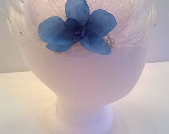 Blue Silk Orchid and White Feathers Fascinator - Wedding, Bridal, Bridesmai, Prom, Pageant, Party, Races  Hair Comb