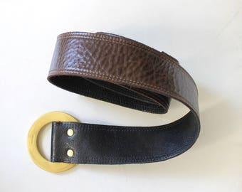 Vintage Reversible Wide Pebbled Leather Cinch Belt with Round Brass Buckle // Low Slung Hip Belt // Small - Medium