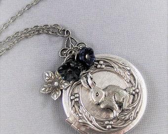 Vintage Bunny,Bunny Necklace,Bunny Locket,Rabbit Necklace,Rabbit Locket,Little Girl,Necklace,Pink Necklace,Flower Necklace,valleygirldesign