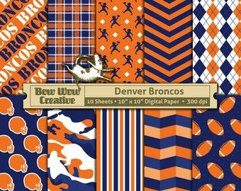 10 Denver Broncos Pattern Digital Papers for Scrapbooking, Invitations, Cards,  Graphic Design, Paper Crafts, instant download, background