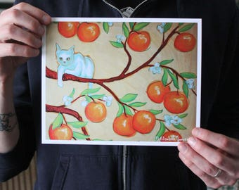 White Cat in an Orange Tree; Fine Art Print